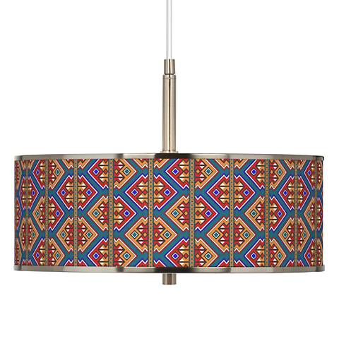 "Rich Bohemian Giclee Glow 16"" Wide Pendant Light"