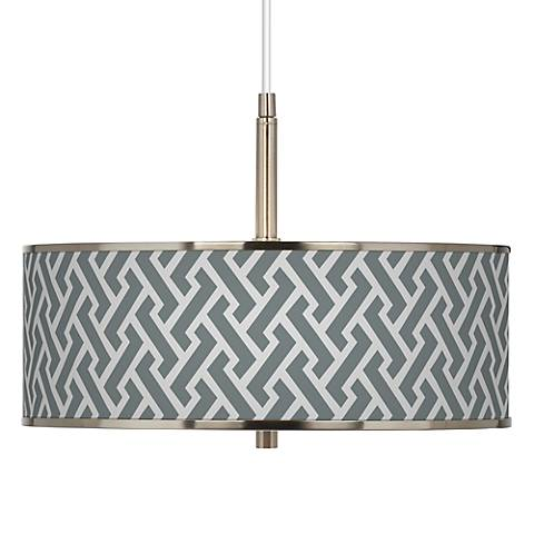 "Smoke Brick Weave Giclee Glow 16"" Wide Pendant Light"