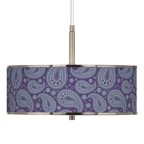 "Purple Paisley Linen Giclee Glow 16"" Wide Pendant Light"
