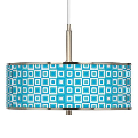"Blue Boxes Linen Giclee Glow 16"" Wide Pendant Light"