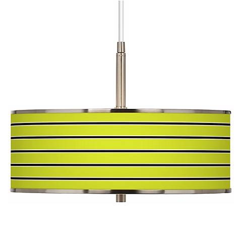 "Bold Lime Green Stripe Giclee Glow 16"" Wide Pendant Light"