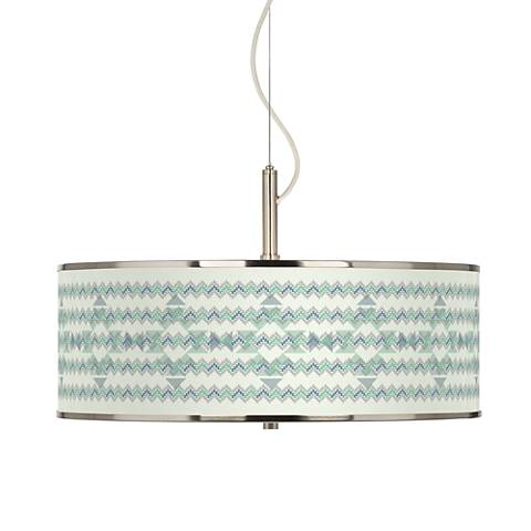 "Triangular Stitch Giclee Glow 20"" Wide Pendant Light"
