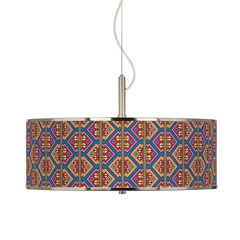 "Rich Bohemian Giclee Glow 20"" Wide Pendant Light"