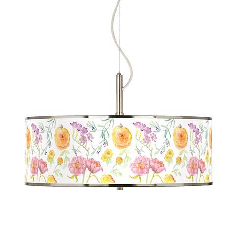"Spring Garden Giclee Glow 20"" Wide Pendant Light"