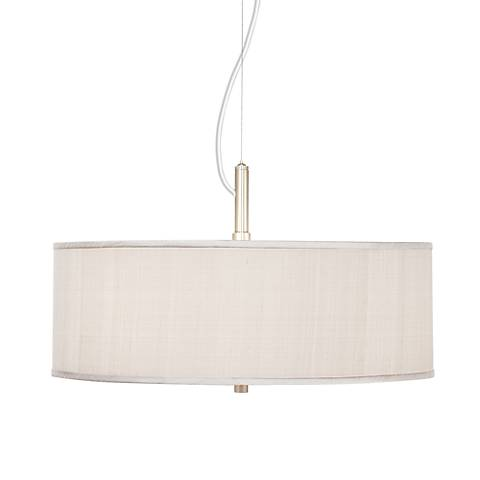 "Cream Textured Silk 20"" Wide Pendant Chandelier"