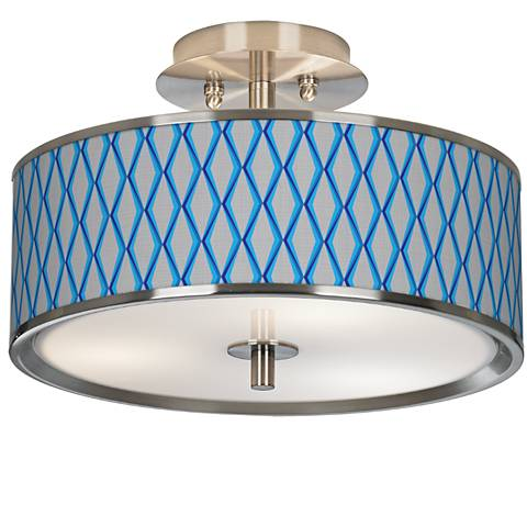 "Bleu Matrix Giclee Glow 14"" Wide Ceiling Light"