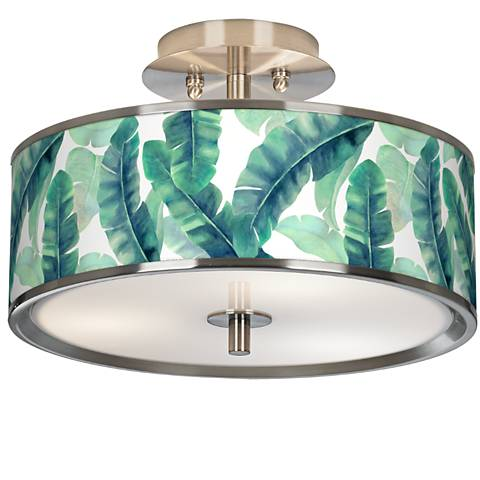 "Guinea Giclee Glow 14"" Wide Ceiling Light"
