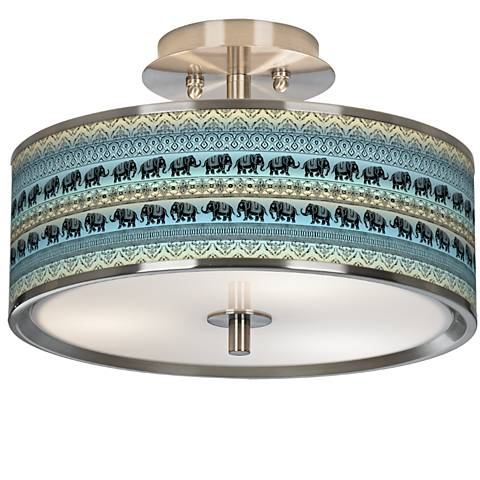 "Elephant March Giclee Glow 14"" Wide Ceiling Light"
