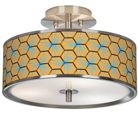 "Hexagon Starburst Giclee Glow 14"" Wide Ceiling Light"