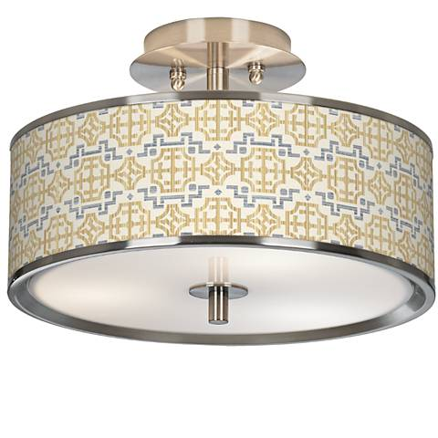 """Willow Chinoiserie Giclee Glow 14"""" Wide Ceiling Light"""
