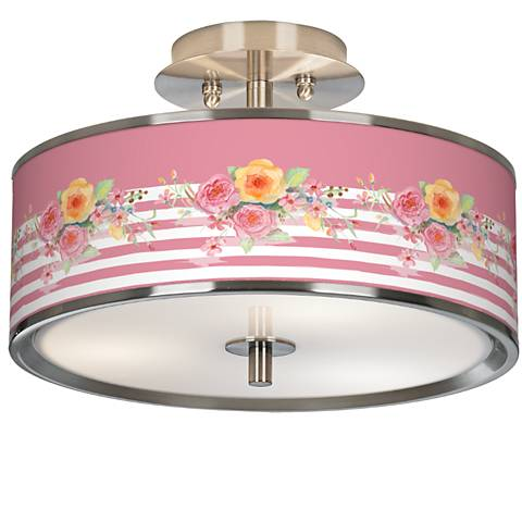 "Country Rose Giclee Glow 14"" Wide Ceiling Light"