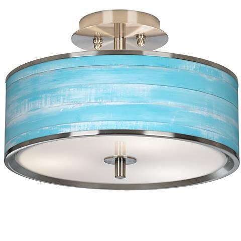 "Barnyard Blue Giclee Glow 14"" Wide Ceiling Light"