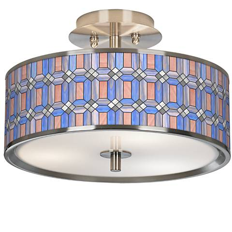 "Asscher Tiffany-Style Giclee Glow 14"" Wide Ceiling Light"