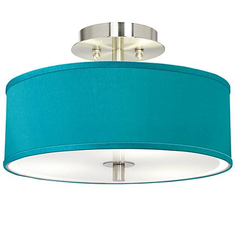 "Teal Blue Faux Silk 14"" Wide Brushed Steel Ceiling Light"