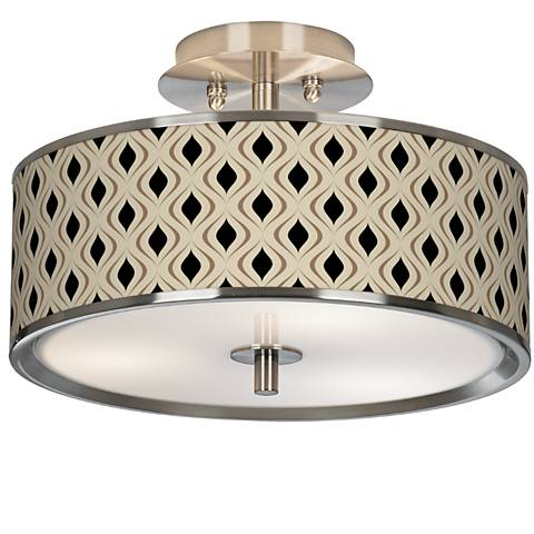"Gray Retro Lattice Giclee Glow 14"" Wide Ceiling Light"