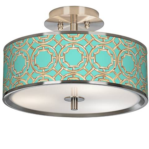 "Teal Bamboo Trellis Giclee Glow 14"" Wide Ceiling Light"