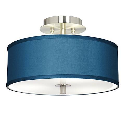 """Blue Faux Silk 14"""" Wide Steel Ceiling Light"""