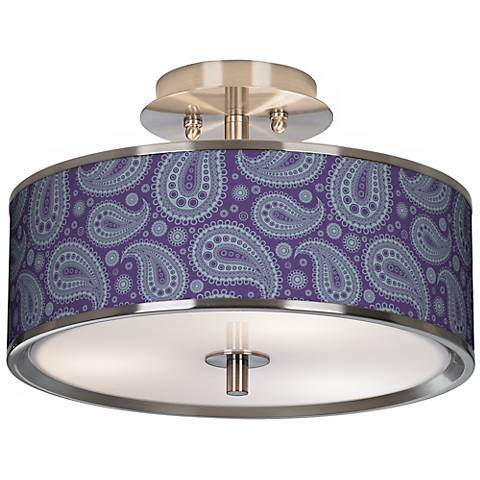 "Purple Paisley Linen Giclee Glow 14"" Wide Ceiling Light"