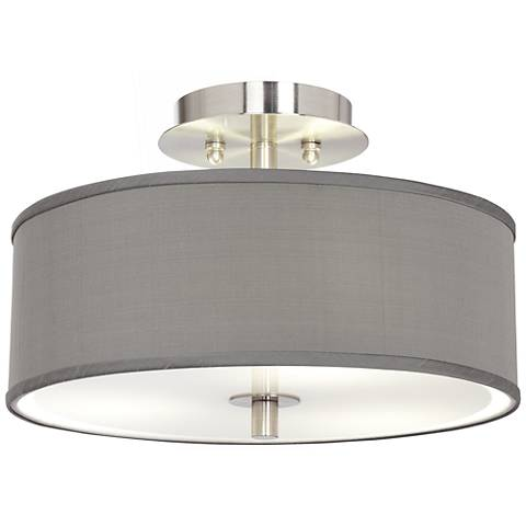 "Gray Faux Silk 14"" Wide Ceiling Light"