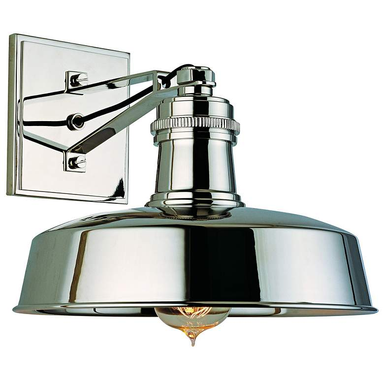 """Hudson Falls 10"""" Wide Polished Nickel Wall Sconce"""