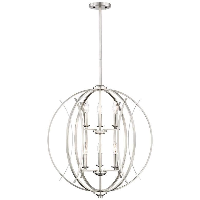 "Brushed Nickel Spherical 24"" Wide 6-Light Pendant Chandelier"