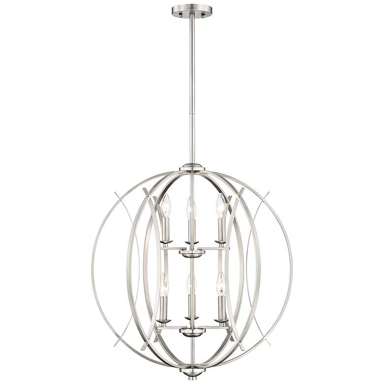 "Possini Euro Spherical 24""W Brushed Nickel 6-Light Pendant"