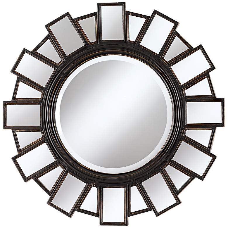 """Mirrored Frame 35 1/2"""" Wide Moonlight Wall Mirror"""