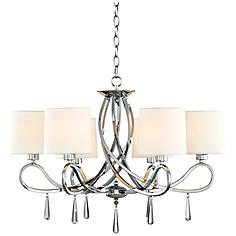 "Chrome Swirl Glass Drop 26"" Wide Chandelier"