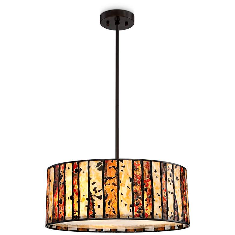 """Speckled Glass 20"""" Wide Tiffany Style Pendant Chandelier"""