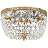 "Crystorama Basket Crystal 10"" Wide Brass Ceiling Light"