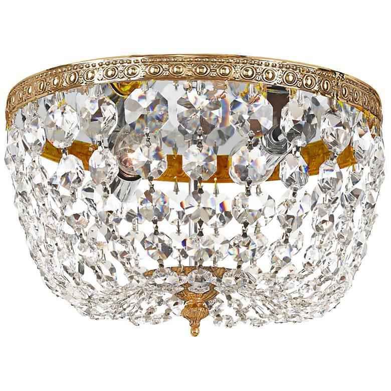 "Crystorama Basket Crystal 10"" Wide Brass Ceiling Light"