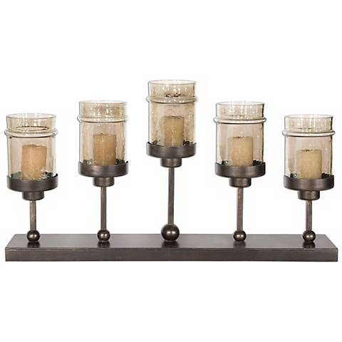 Uttermost Lamya Hand-Forged Iron And Glass Candelabra