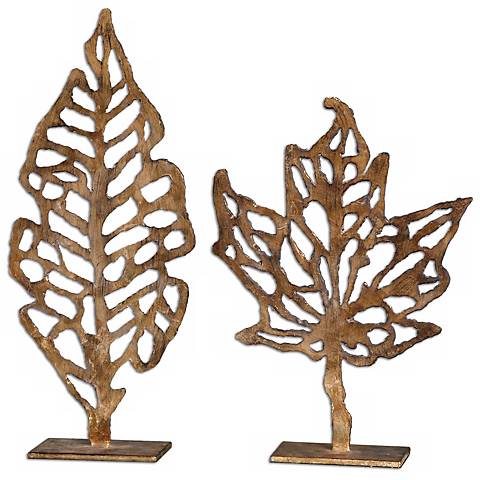 "Uttermost Set of 2 Hazuki 21"" High Leaf Sculptures"