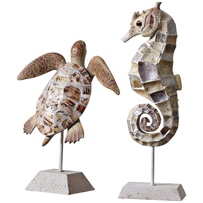 Uttermost Set of 2 Coastal Creatures Sculptures