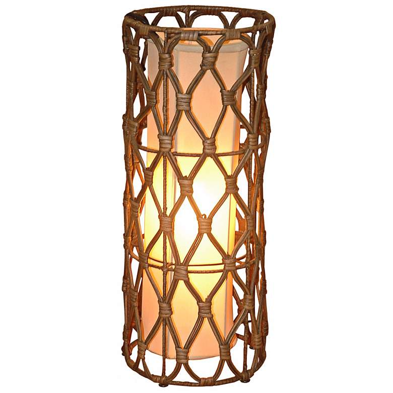 """Bethany Wicker Wrapped Iron 20"""" High Table Lamp"""