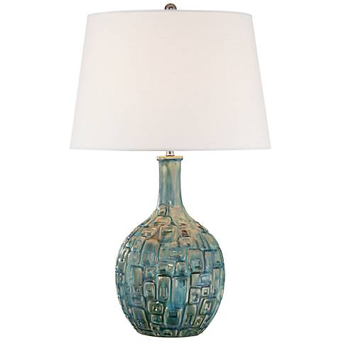 Mid-Century Teal Ceramic Gourd Table Lamp with 9W LED Bulb