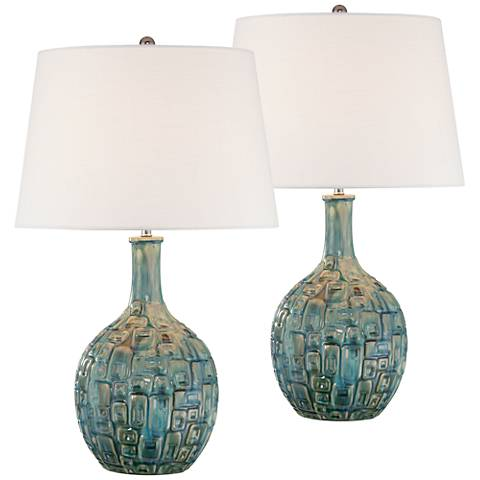 Mid-Century Teal Ceramic Gourd Table Lamp Set of 2