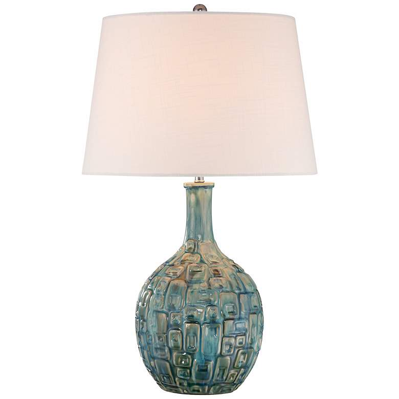Mid-Century Teal Ceramic Gourd Table Lamp - #T8722