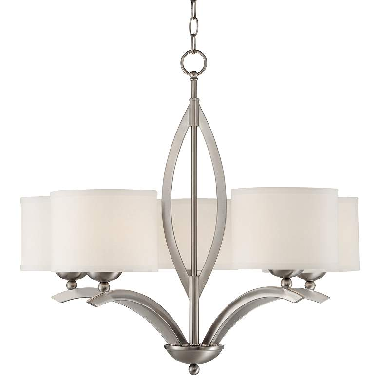 "Possini Euro Ariano 27 1/4"" Wide Brushed Nickel Chandelier"