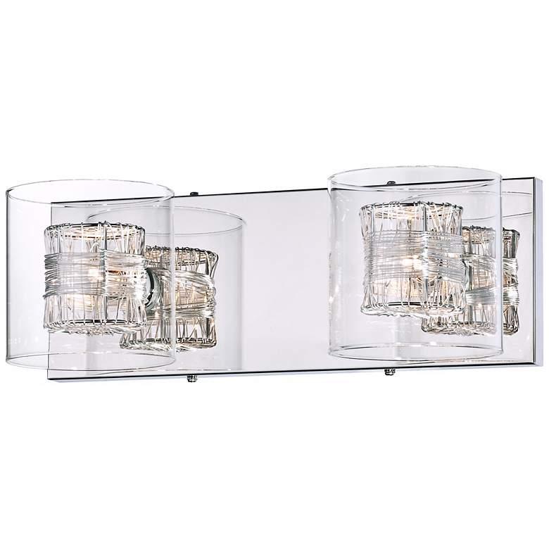 "Possini Euro Wrapped Wire 14"" Wide Chrome Bathroom Light"