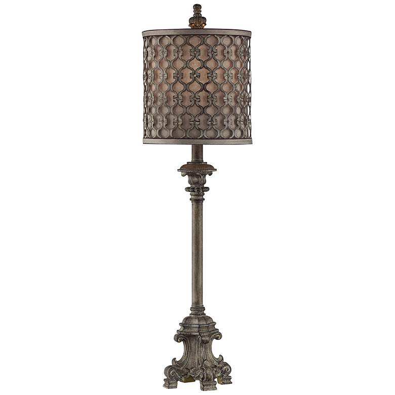 """French Candlestick Metal Frame Shade 34"""" High Buffet Lamp"""