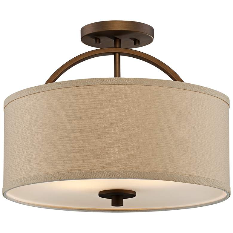 "Possini Euro Halsted 15"" Wide Brushed Bronze Ceiling Light"