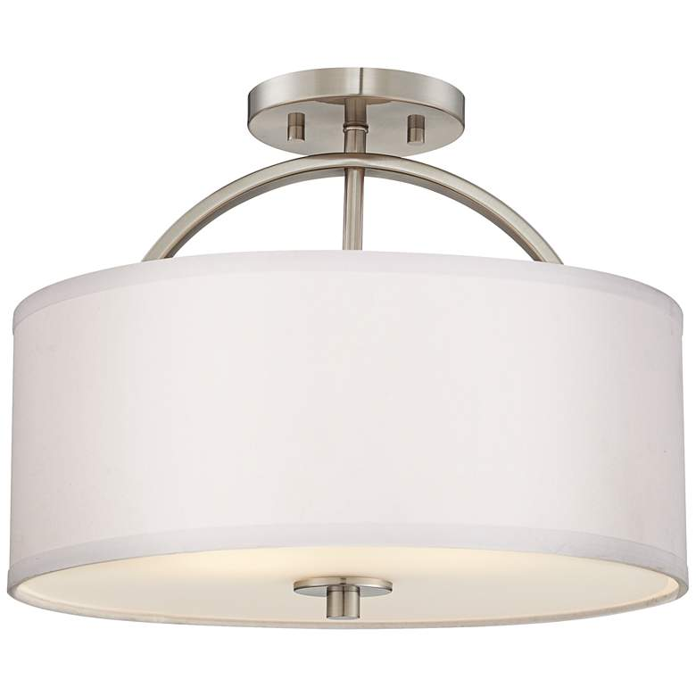 """Possini Euro Halsted 15"""" Wide Brushed Nickel Ceiling Light"""