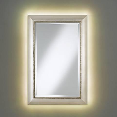 "Jocelyn Silver Beading 24"" x 36"" Mirror with LED Light Kit"