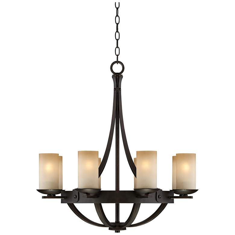 "Sperry 28"" Wide Bronze and Scavo Glass 8-Light Chandelier"