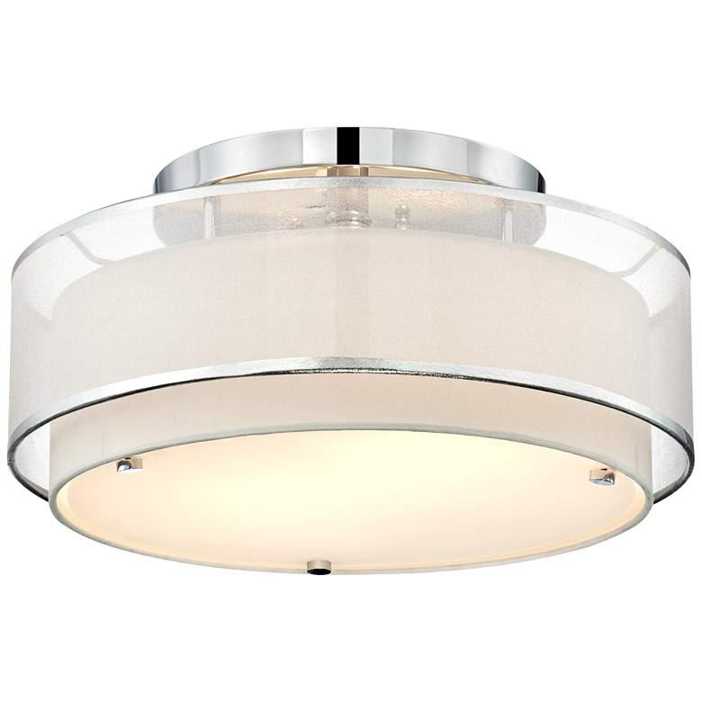 """Possini Euro Design Double Organza 16"""" Wide Ceiling Light"""