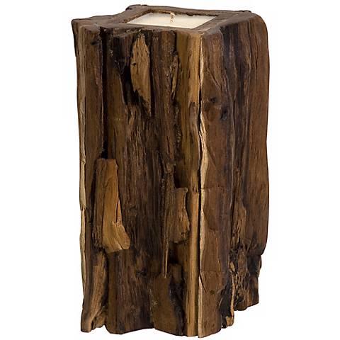 Large Natural Teakwood Stump Candle