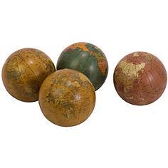 Set of 4 Antique Finish Globe Spheres