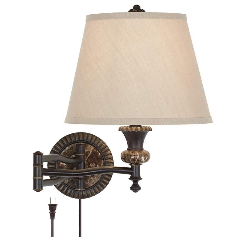 Westbridge Traditional Plug-In Swing Arm Wall Lamp in Bronze