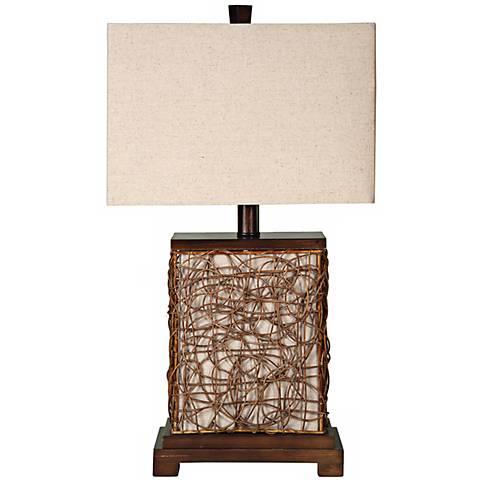 "Freeport Wood-Rattan With Nightlight 27"" High Table Lamp"